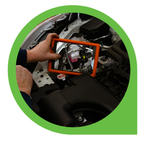 tablet taking pictures of vehicle part under hood of car