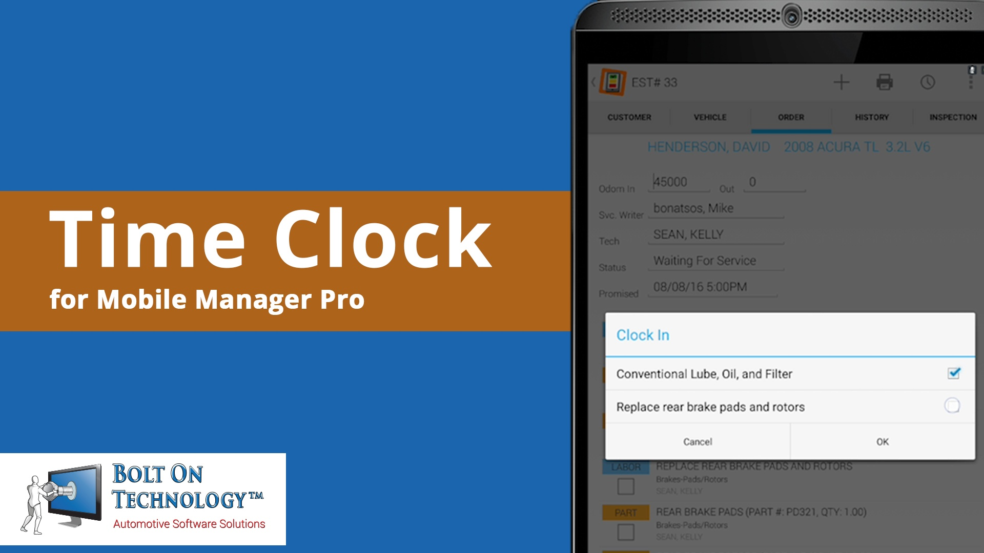 BOLT ON Launches Time Clock for Mobile Manager Pro